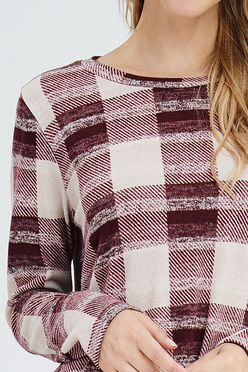 Whitney Plaid Sweater Tunic : Burgundy