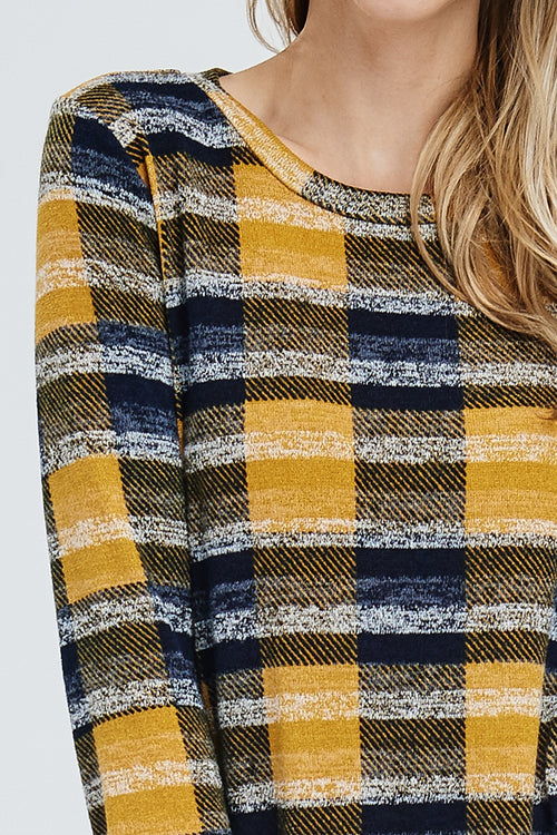 Whitney Plaid Sweater Tunic : Mustard