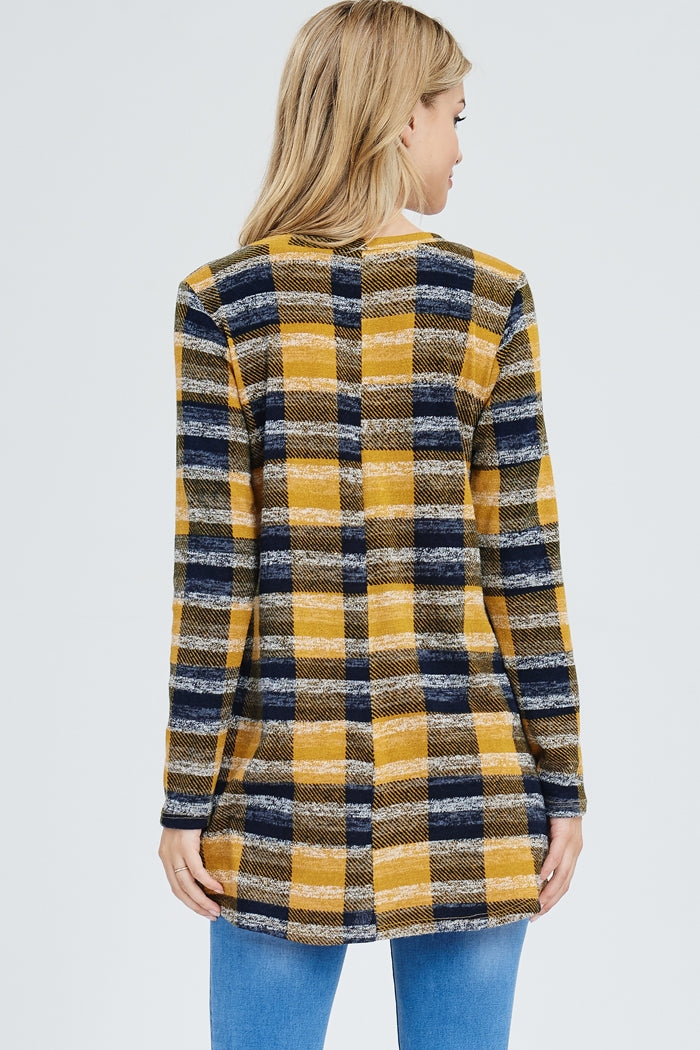 6a7c4d4700 Whitney Plaid Sweater Tunic   Mustard – GOZON Boutique