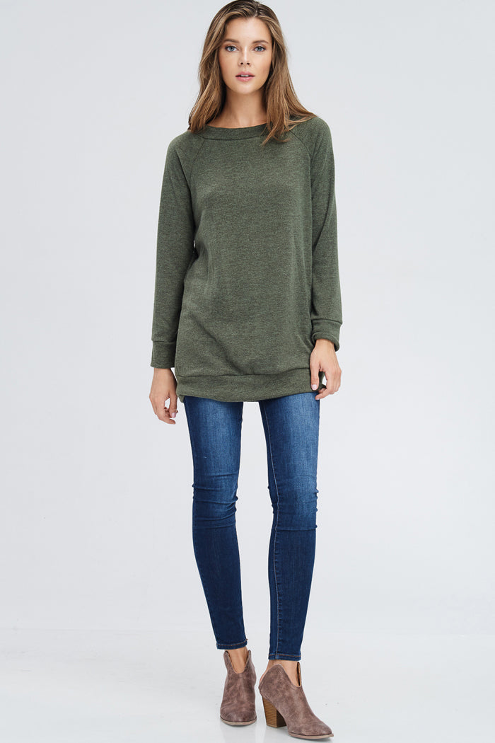 Danielle Boat Neck Sweater Top : Olive