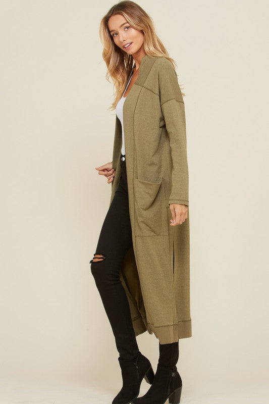 Nicole French Terry Cardigan Duster : Olive
