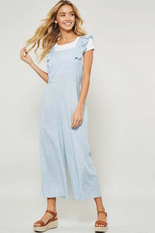 Sophie Ruffled Linen Jumpsuits : Blue