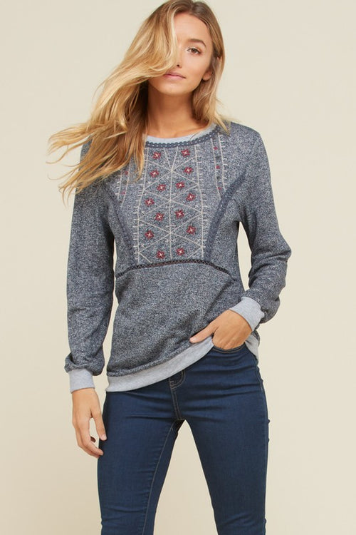 Adela Long Sleeve Embroidery Detail Top : Navy