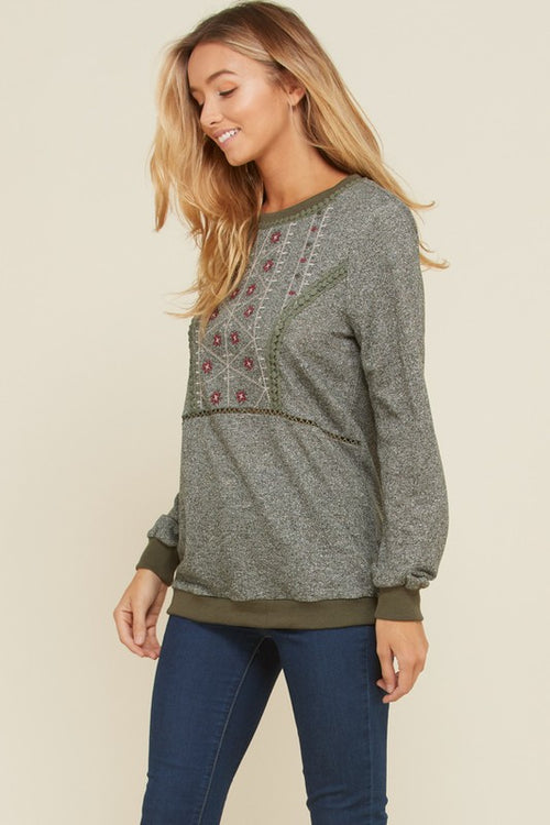 Adela Long Sleeve Embroidery Detail Top : Olive