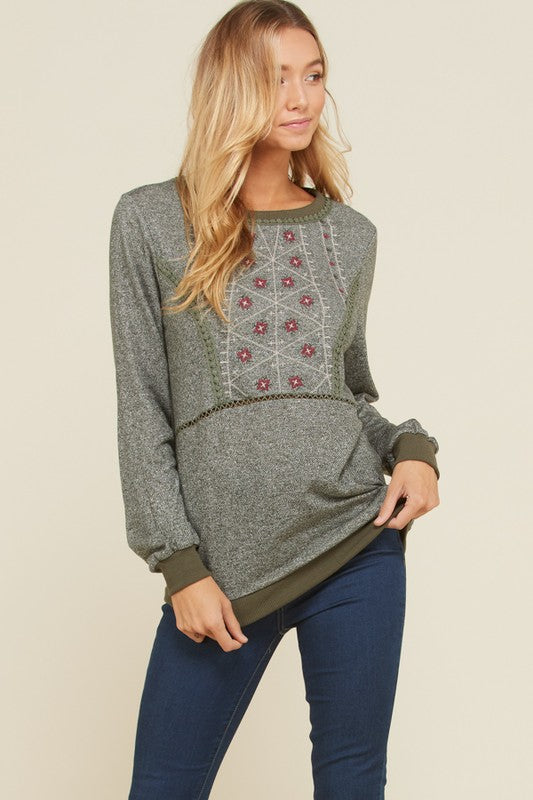 Adela Long Sleeve Embroidery Detail Top : Burgundy