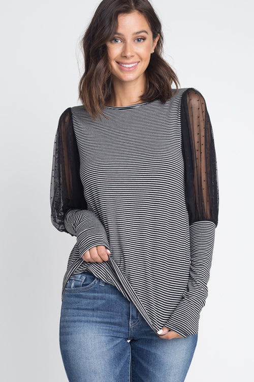Aimee Polka Dot Balloon Sleeve Top : Charcoal-CHST