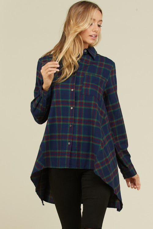 Alexandra Loose High-Low Plaid Top : Green