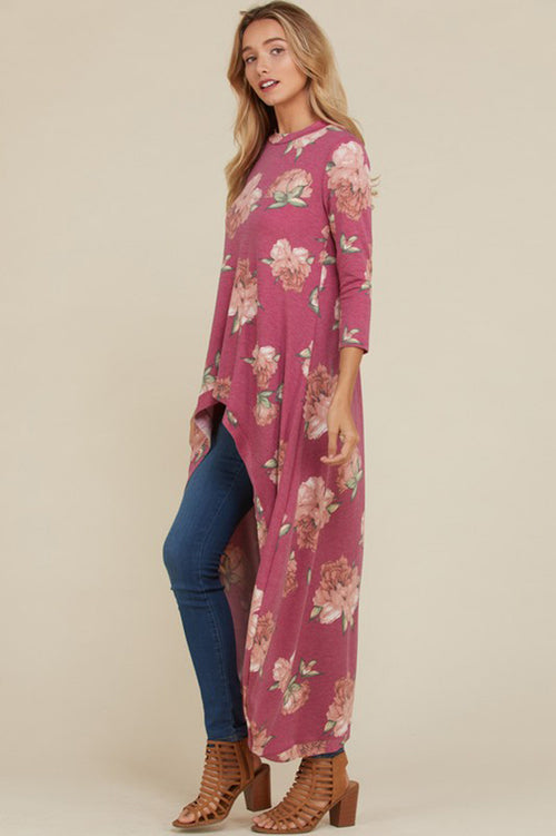 Allison Floral Hi-lo Tunic Top : Mauve
