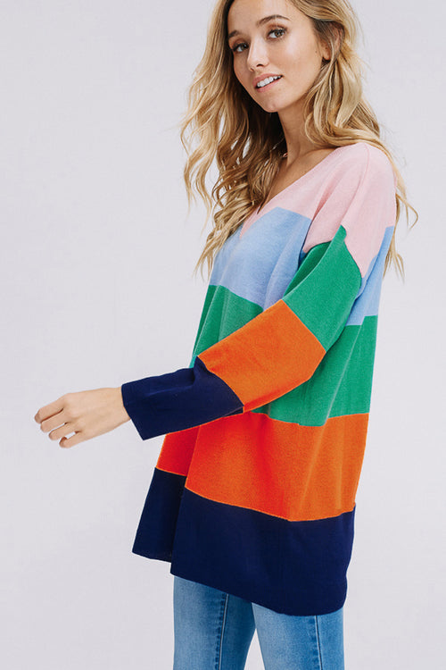 Alora Rainbow Sweater Tunic Top : Multi