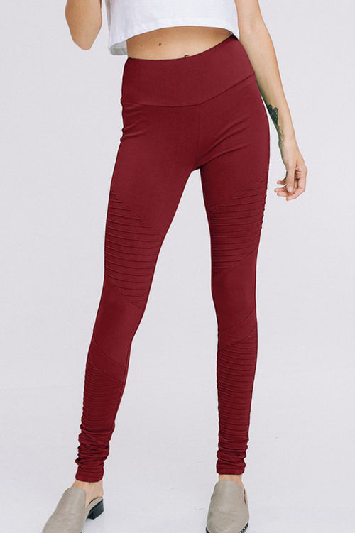Jenny High Waist Tummy Control Yoga Leggings : Wine