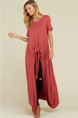 Amber Front Tie High-Low Tunic Top : Slate