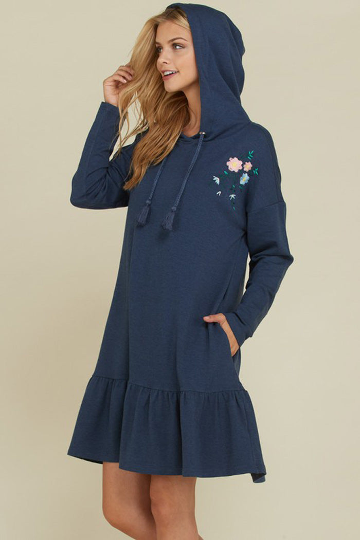 Amy Embroidered Hooded Dress : Navy