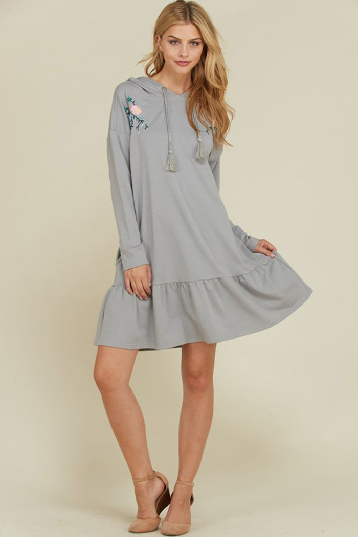 Amy Embroidered Hooded Dress : Grey