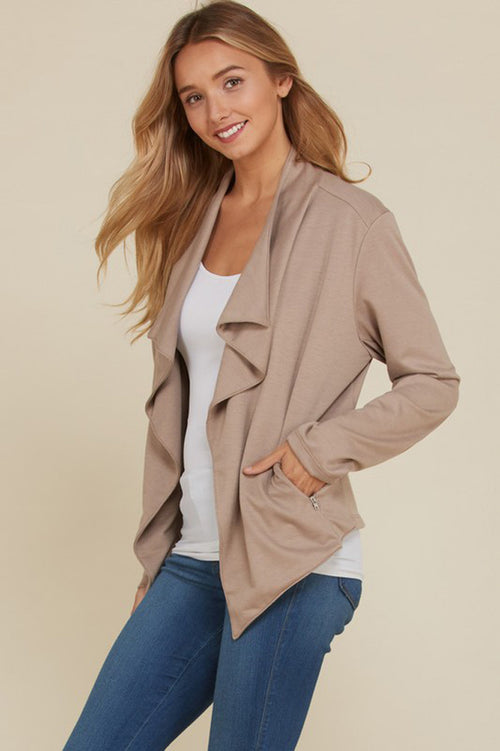 Amy French Terry Draped Jacket Blazer: Dark Mocha