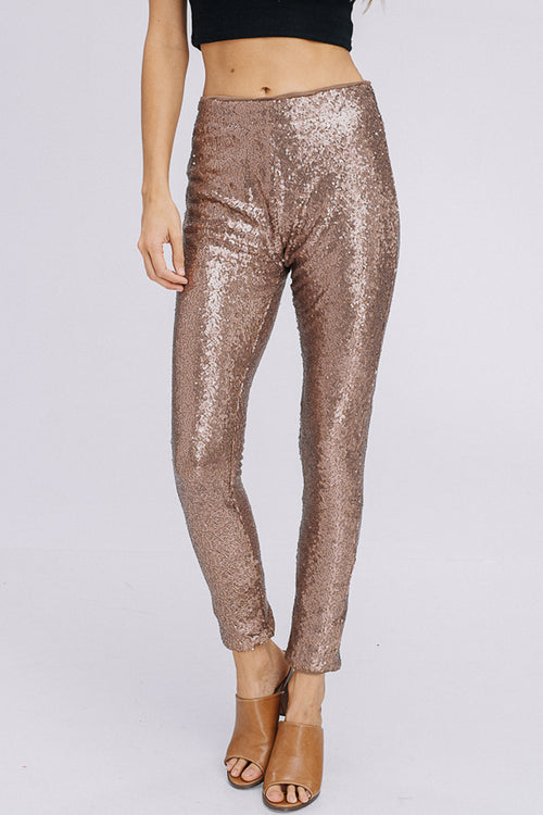 Angela Sequins Pants : Bronze