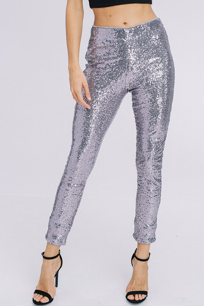 Angela Sequins Pants : Silver