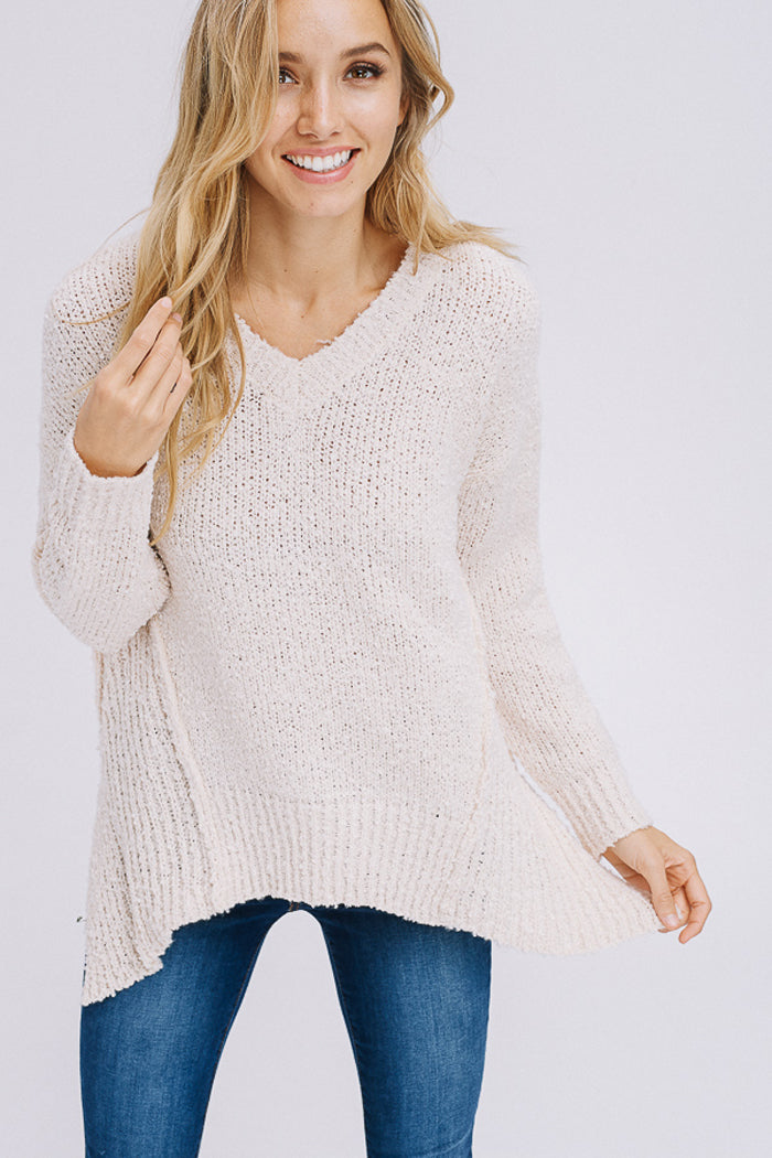 Angelina Asymmetrical Hem Sweater Top : Oatmeal