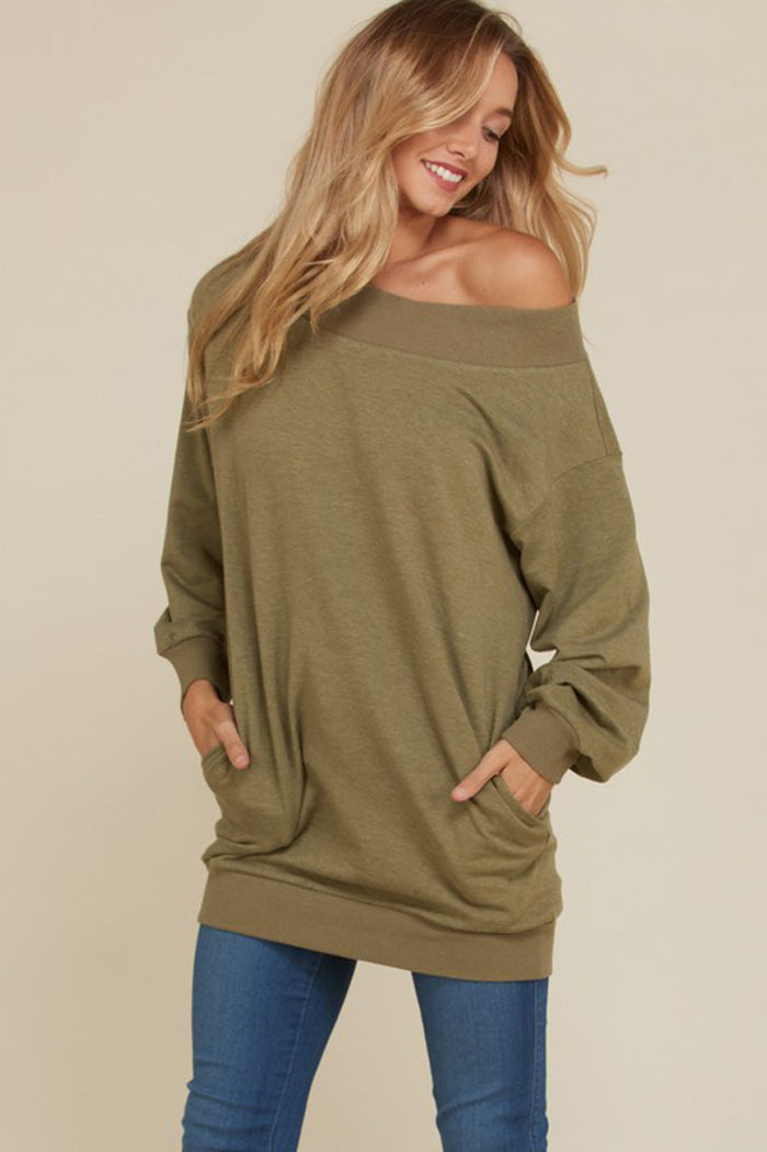 Anne-Marie Basic Boat Neck Top : Navy