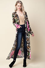 Anne Floral Leopard Print Duster Plus : Brown