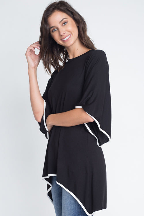 Ariel Flutter Sleeve High-Low Tunic Top : Black