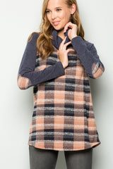 Betty Cozy Plaid Turtleneck Tunic : Mauve