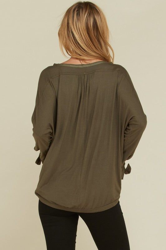 Betty Front Keyhole Top : Olive