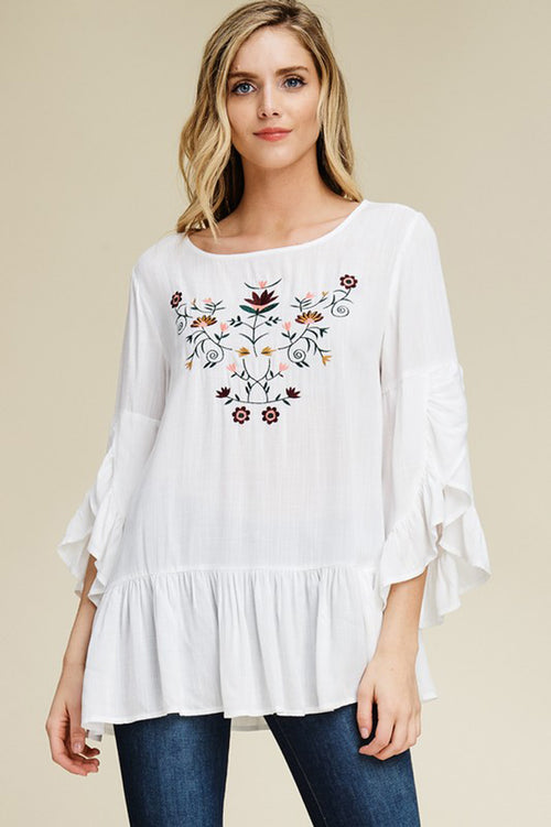 Carmen Ruffle Bell Sleeve Tunic Top : White