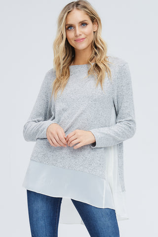 Selena Crochet Neck Top : Warm Taupe