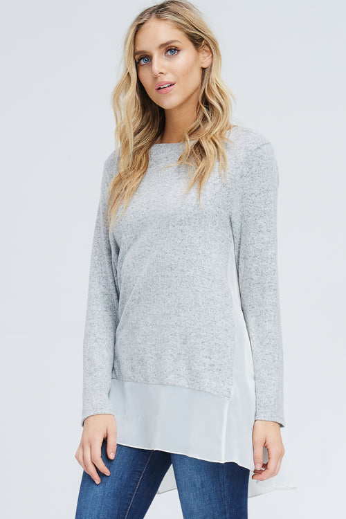 Caroline Woven Contrast Tunic Top : Heather Grey