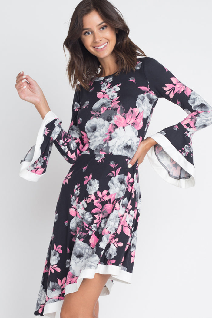 Carrie Floral Asymmetrical Midi Dress : Black/Pink/Grey