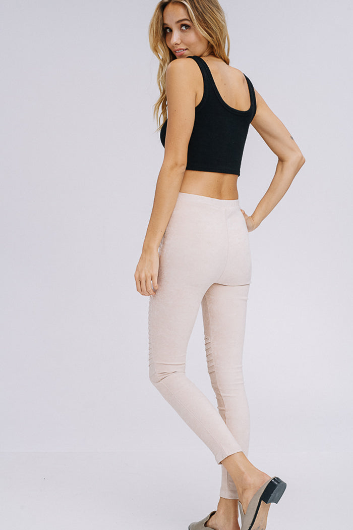 Carrie Moto Leggings : Beige.