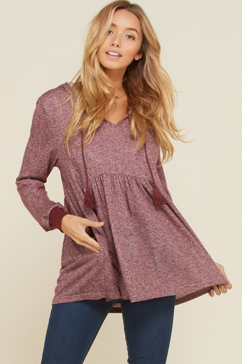 Charlene Empire Waist Hoodie Top : Burgundy
