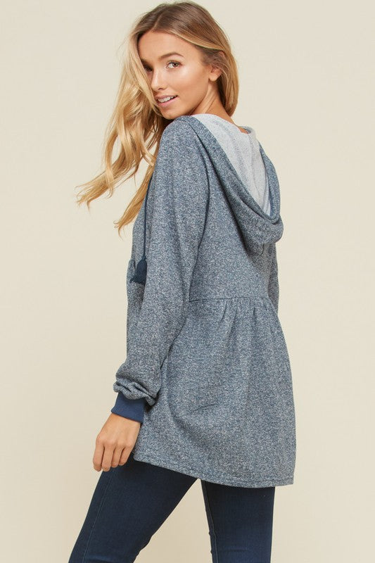 Charlene Empire Waist Hoodie Top : Blue