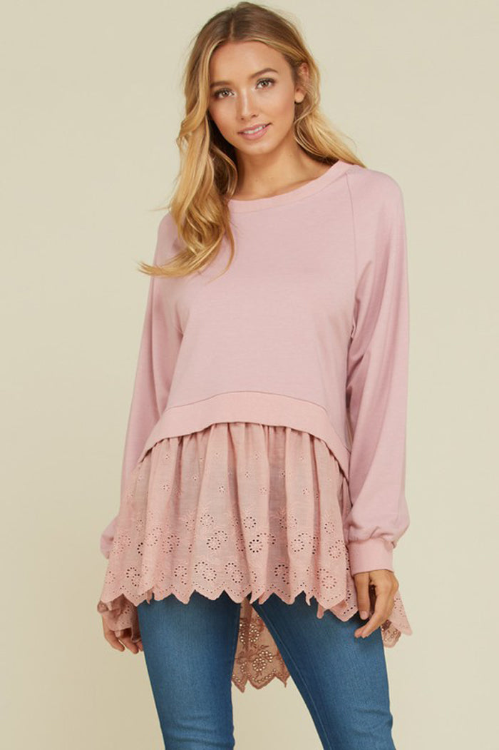 Courtney Lace Trim French Terry Top : Mauve