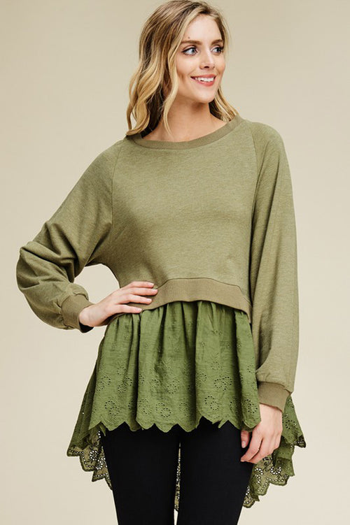 Courtney Lace Trim French Terry Top : Olive