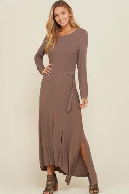 Cynthia Asymmetrical Hem Maxi Dress : Mocha