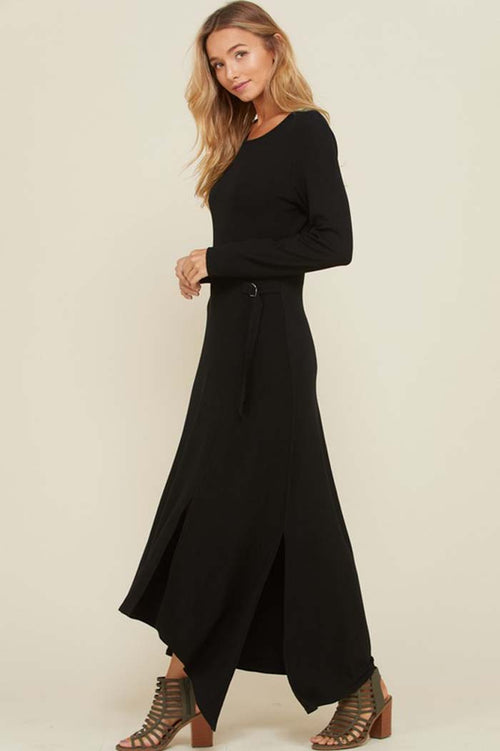 Cynthia Asymmetrical Hem Maxi Dress : Black