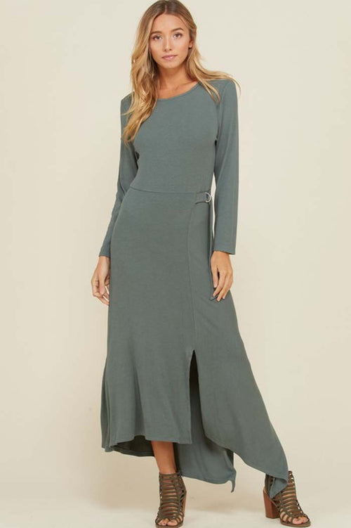 Cynthia Asymmetrical Hem Maxi Dress : Sage