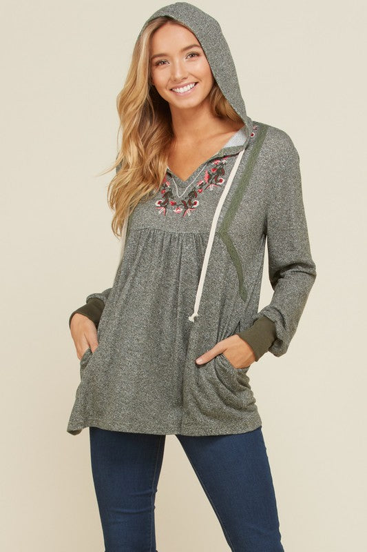 Diana Floral Embroidery Hoodie Top : Olive