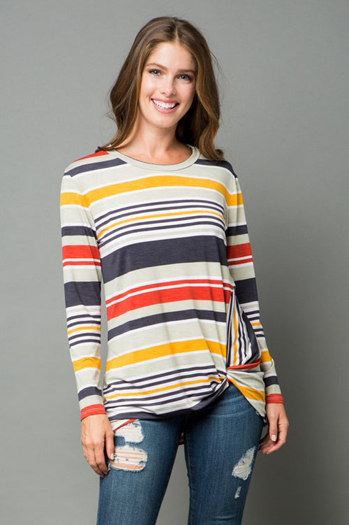Elena Stripe Long Sleeve Top : Sage