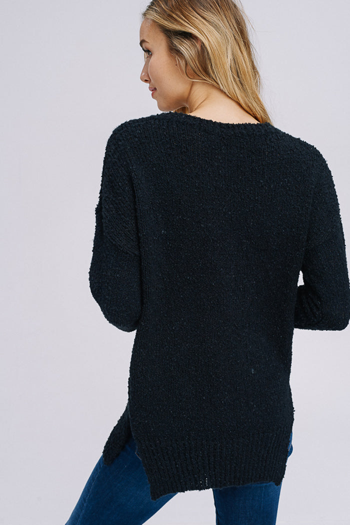 Angelina Asymmetrical Hem Sweater Top : Black