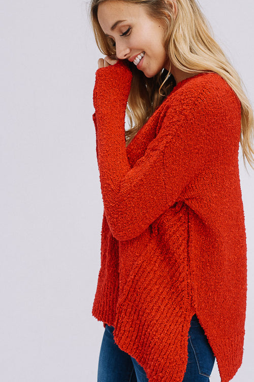 Angelina Asymmetrical Hem Sweater Top : Cherry