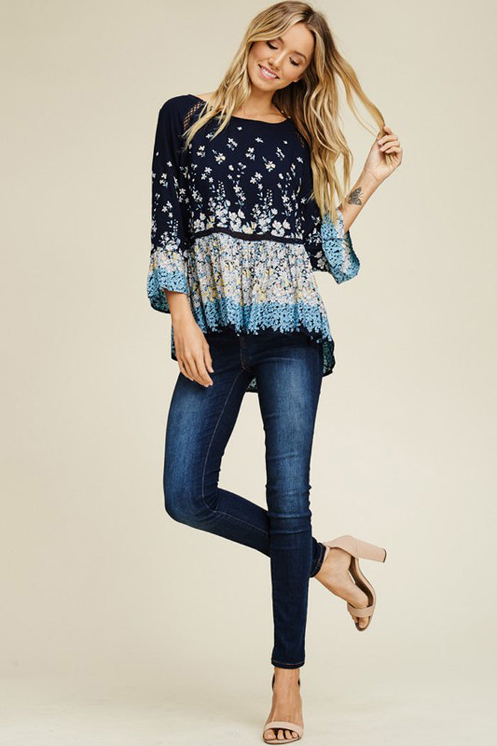Eve Challis Floral Boho Tunic Top : Navy