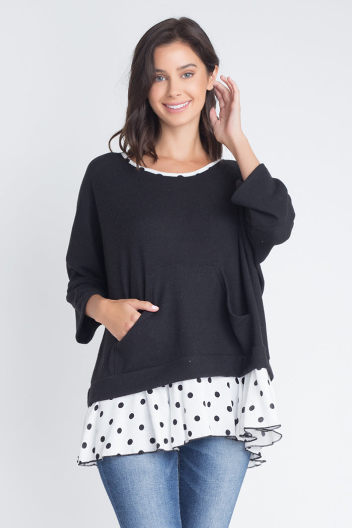 Faith Polka Dot Dolman Top : Black