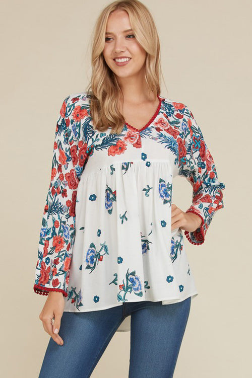 Fiona Floral and Lace Boho Top : Off White