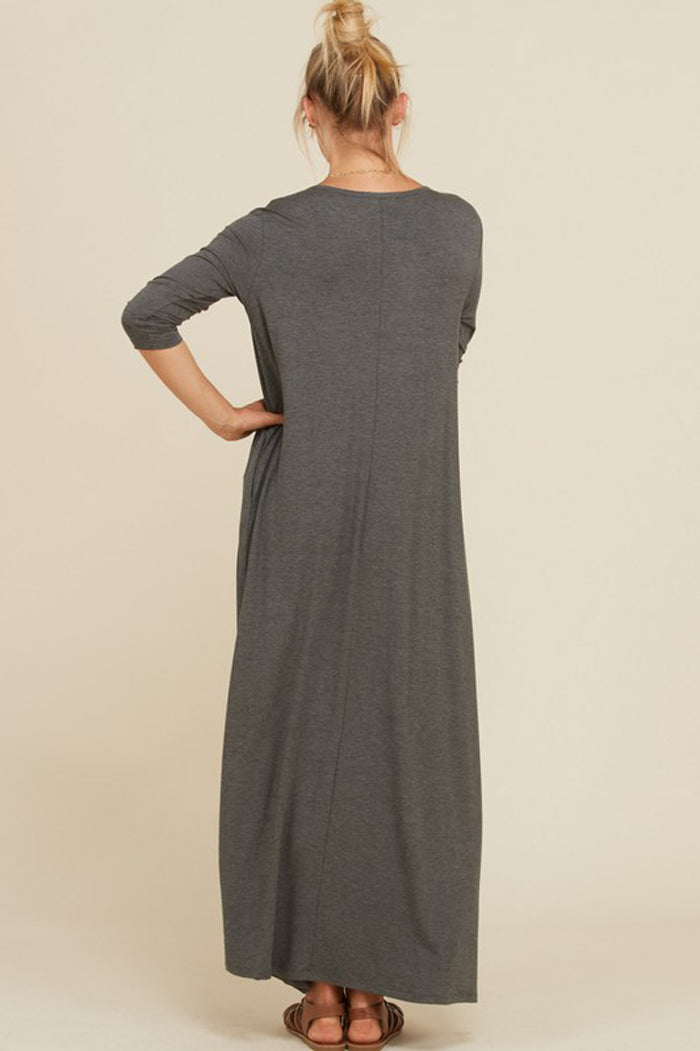 Frankie Loose 3/4 Sleeve Maxi Dress : Mid Grey