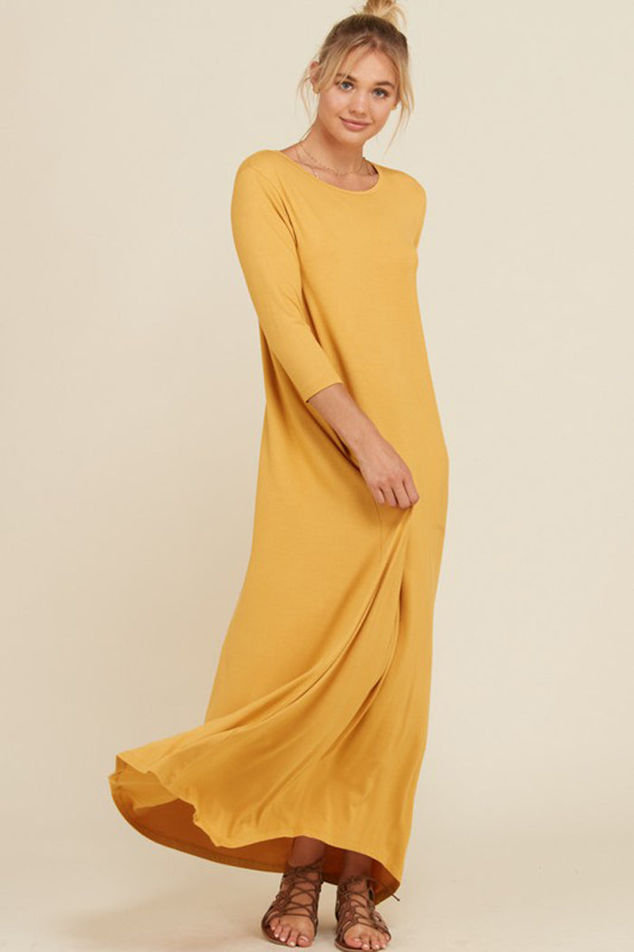 Frankie Loose 3 4 Sleeve Maxi Dress Mustard Gozon Boutique