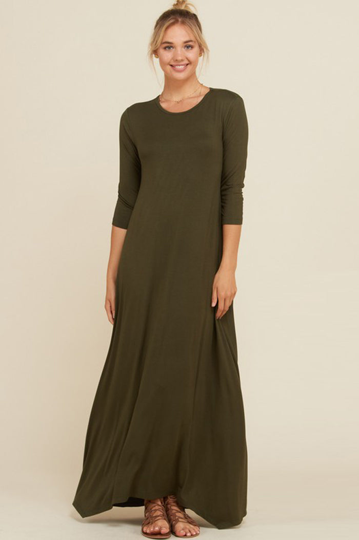 Frankie Loose 3 4 Sleeve Maxi Dress Olive Gozon Boutique