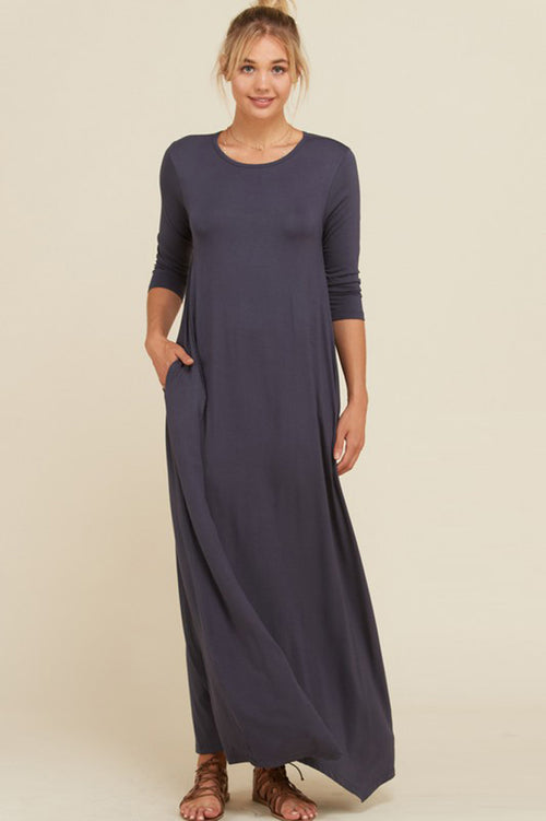 Frankie Loose 3/4 Sleeve Maxi Dress : Slate
