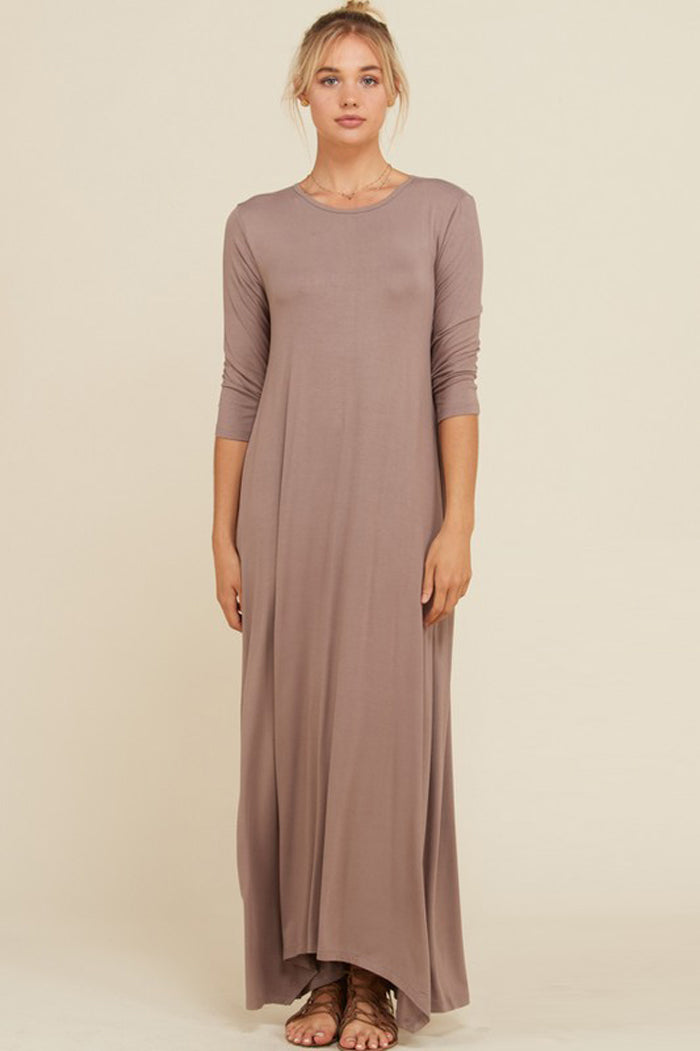 Frankie Loose 3/4 Sleeve Maxi Dress : Taupe Grey